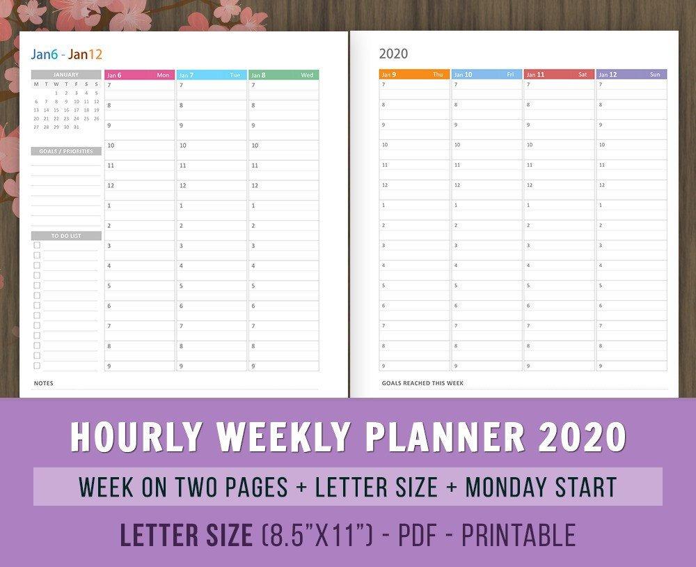 Hourly Weekly Calendar 2020 Printable | Example Calendar Weekly 2 Page Calendar