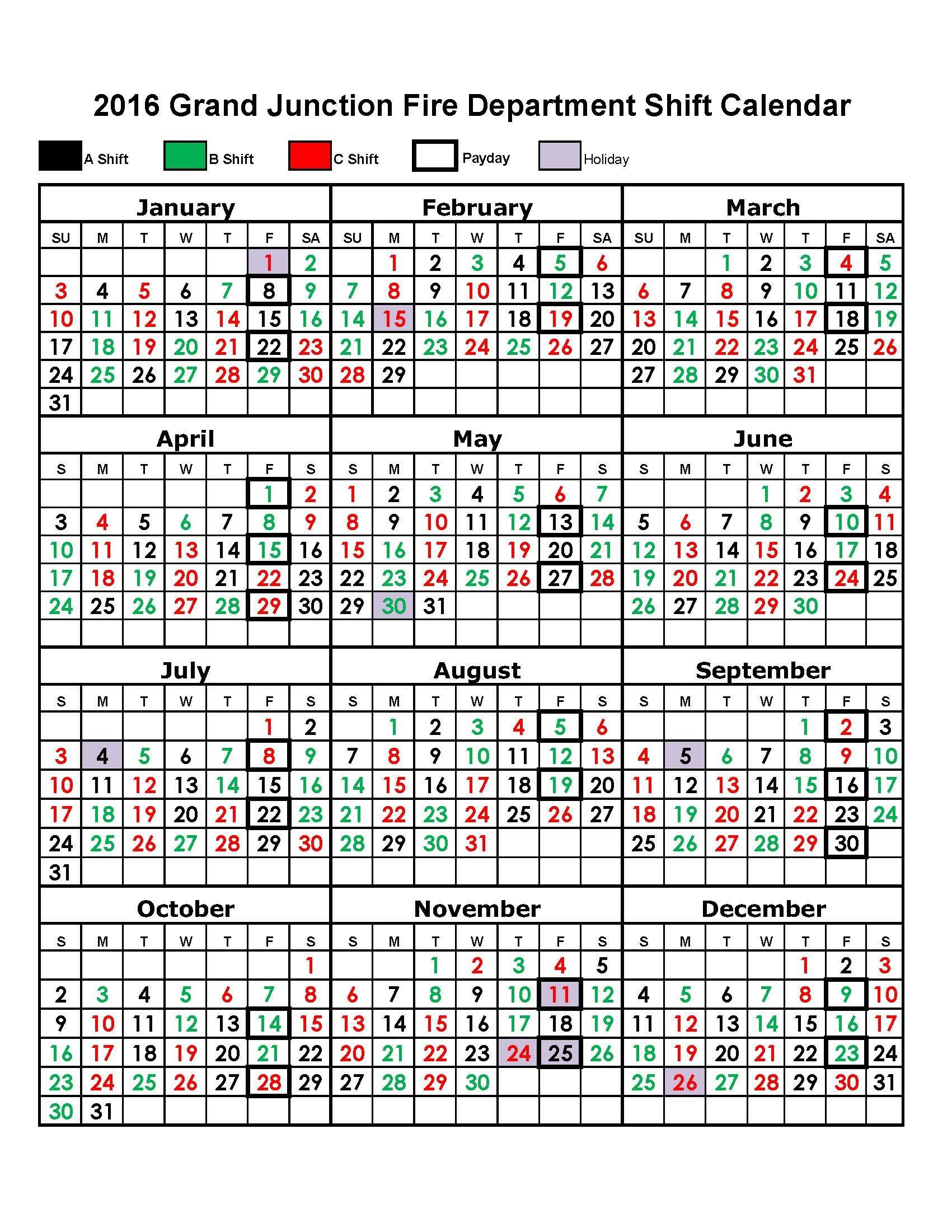 Houston Fire Department Shift Calendar | Printable Free Printable Shift Calendars