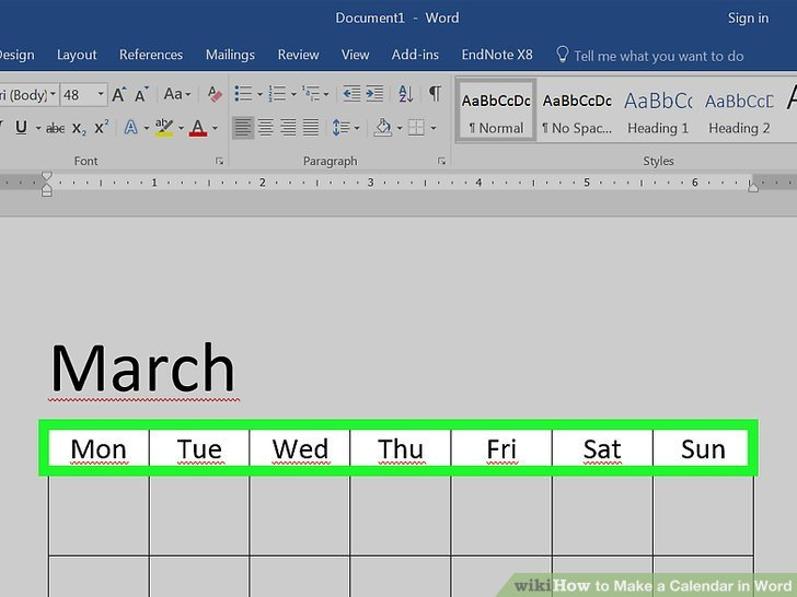 How To Make A Calendar In Word (With Pictures) – Wikihow Calendar I Can Modify