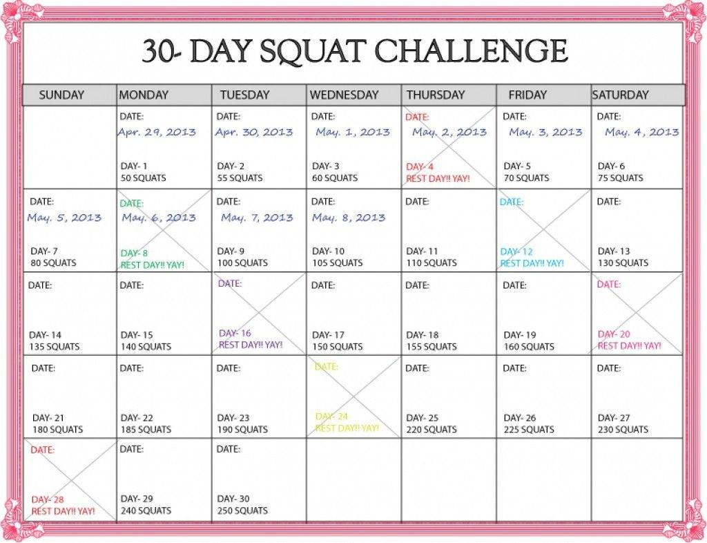 Https://Www.30 Day Squat Calendar – Calendar Template 2020 30 Day Printable Calender
