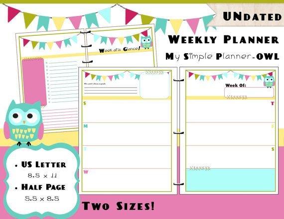 Https://Www.etsy/Listing/228232626/Printable Weekly 8 Week Calendar Pdf