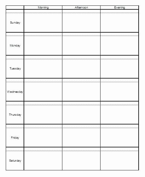 Inspirational Monday Through Friday Schedule Template In Free Printable Monday Sunday Schedule