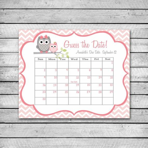 Items Similar To Guess The Date | Pink Owl With Chevron Guess The Baby'S Arrival Date