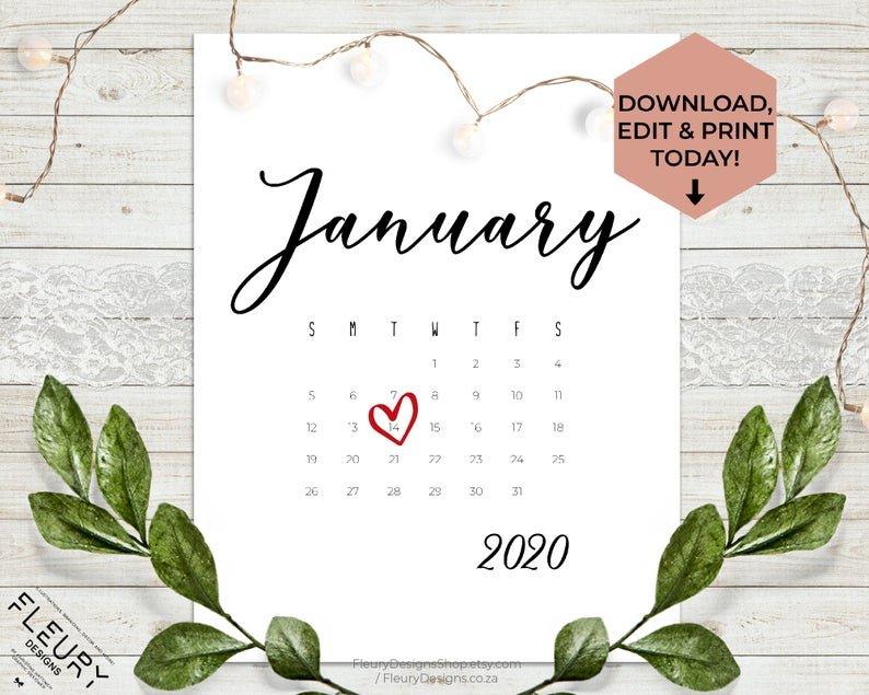 January 2020 Custom Editable Pregnancy Announcement How To Make Baby Due Date Calendar April 2020