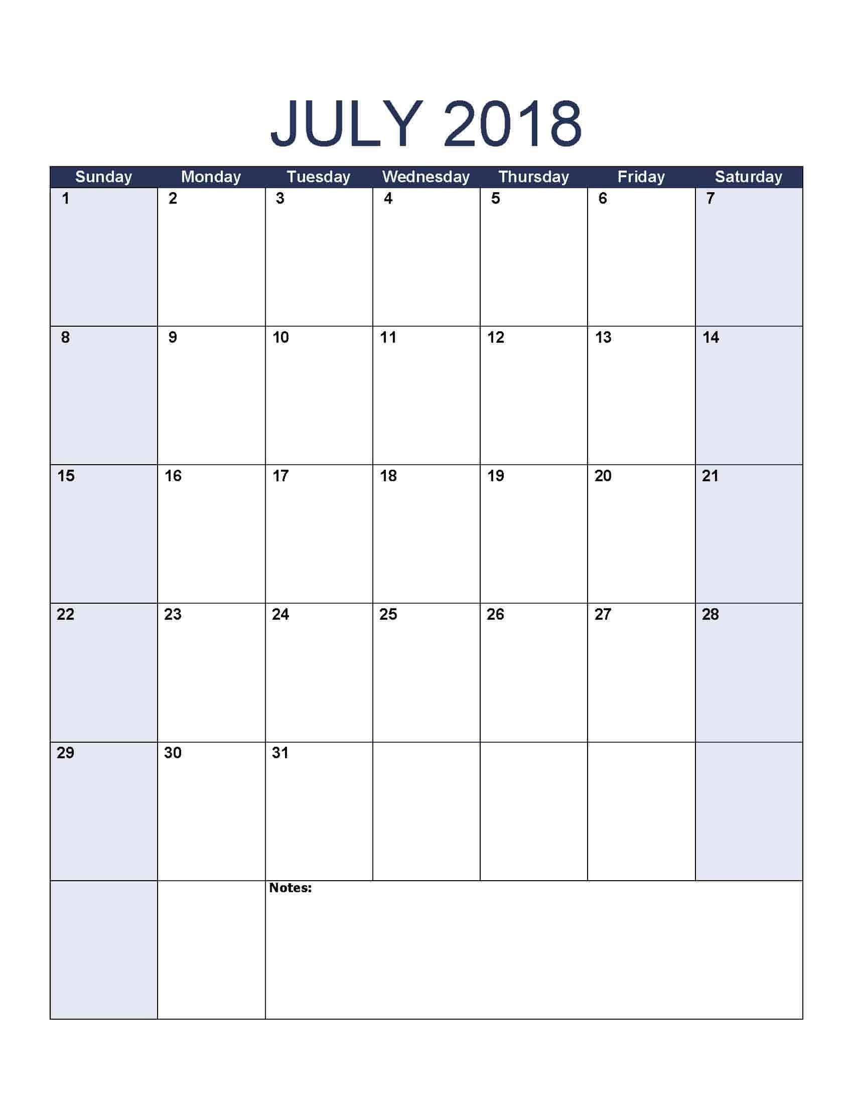 July 2018 Calendar – Free, Printable Calendar Templates Free Caolendar To Fill In Online