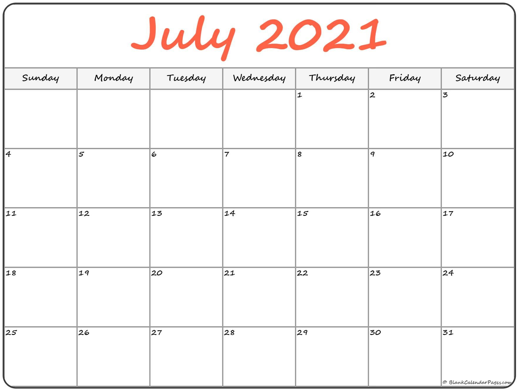 July 2021 Calendar   Free Printable Calendar Free Bold Printable Calnder Jully
