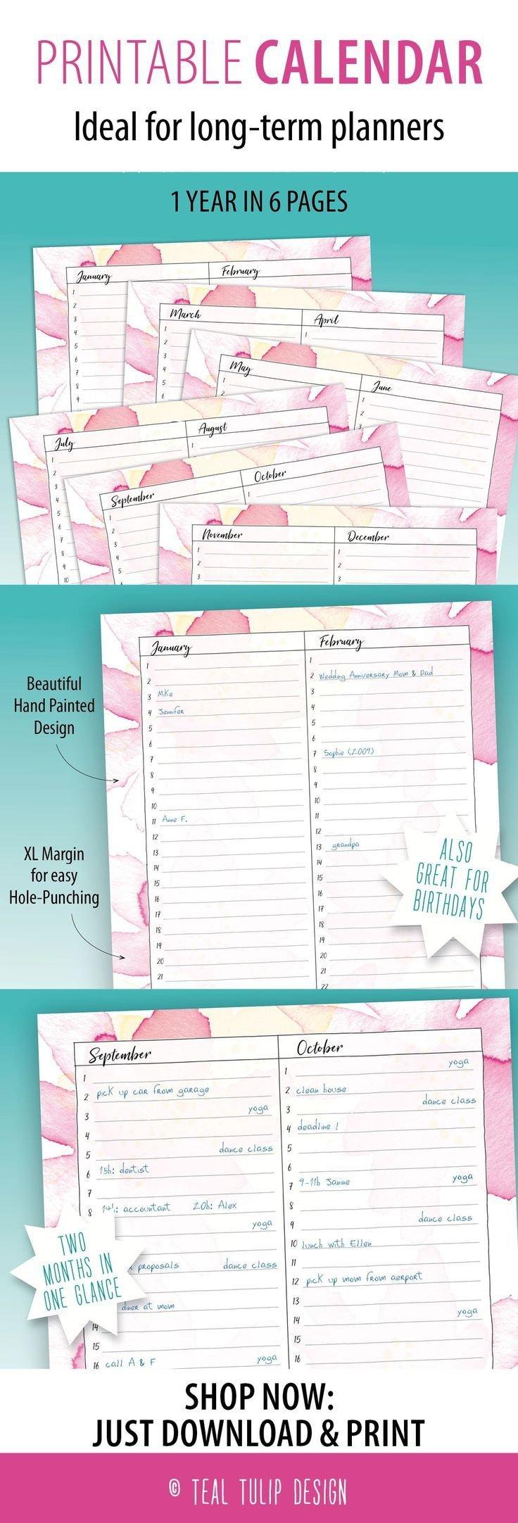 Long Term Planner Birthday Calendar Printable 12 Month 12 Month Birthday Calendar Free Printable