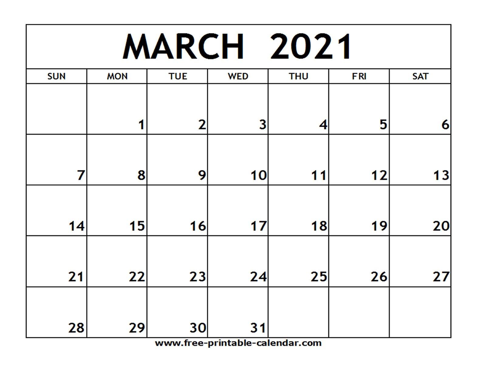 March 2021 Printable Calendar - Free-Printable-Calendar Large Printable Fill In Calender