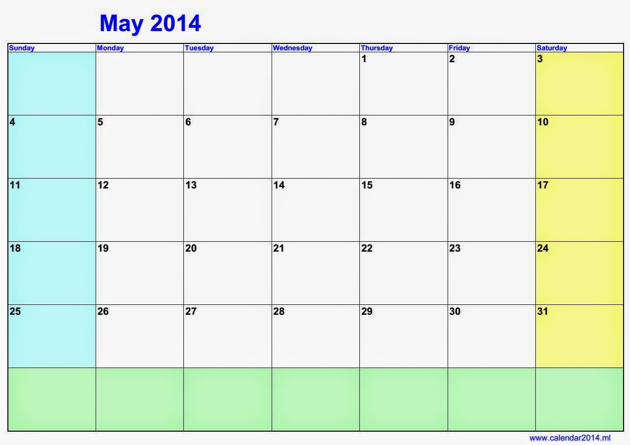 May Blank Calendar 2014 | 2016 Blank Calendar – Calendar Where R My Blank Calendars