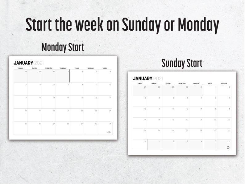 Minimalist 2021 Calendar Printable // Monthly Planner No Frills Printable Calendar