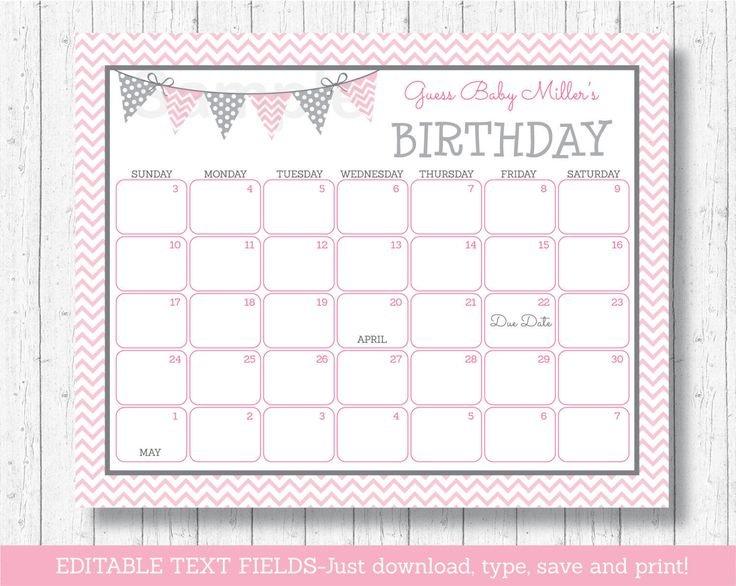 Modern Pink #Chevron #Printable Baby Due Date Calendar # Baby Bet Calnder Template
