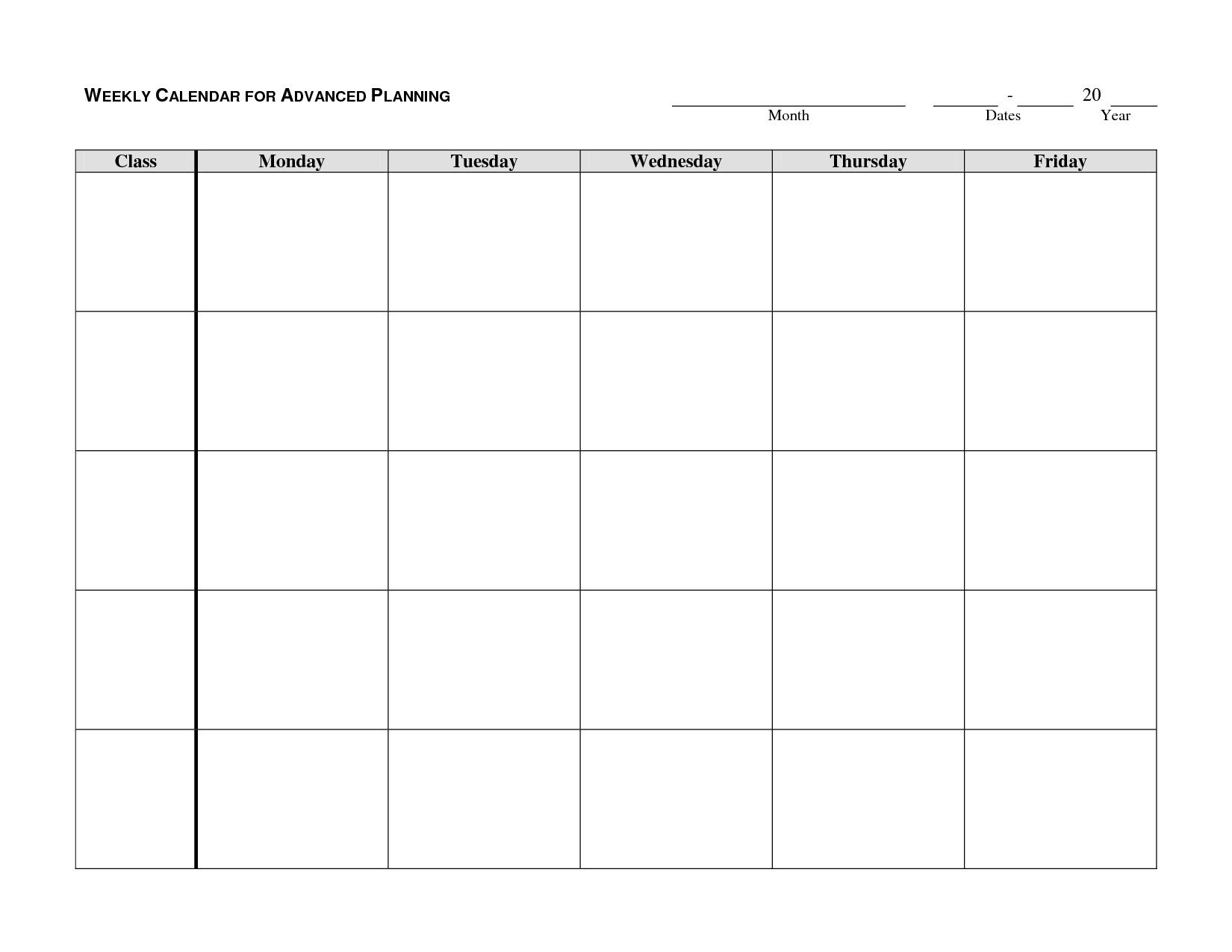 Monday Friday Blank Weekly Schedule   Calendar Template Monday Thru Friday Calender