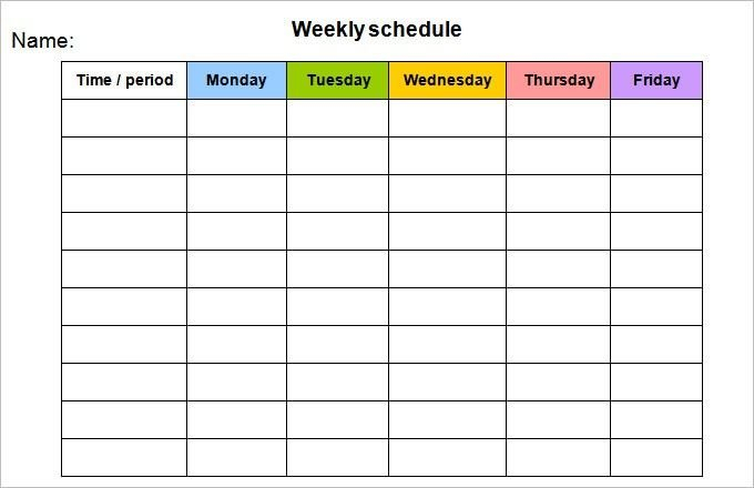 Monday Friday Schedule Template Di 2020 Blank Monday Through Sunday Schedule