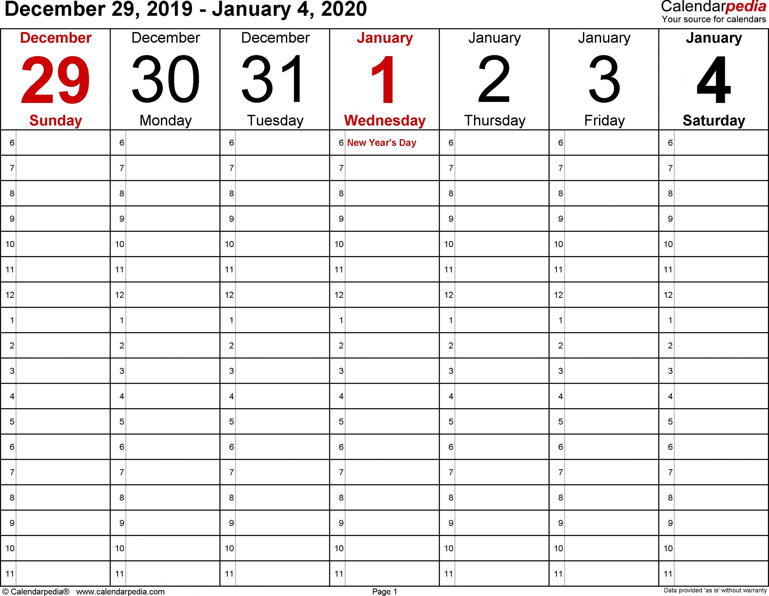 Monday Through Friday Blank Calendar 2020 Printable | Free Printable Weekly Calendar Monday Through Friday