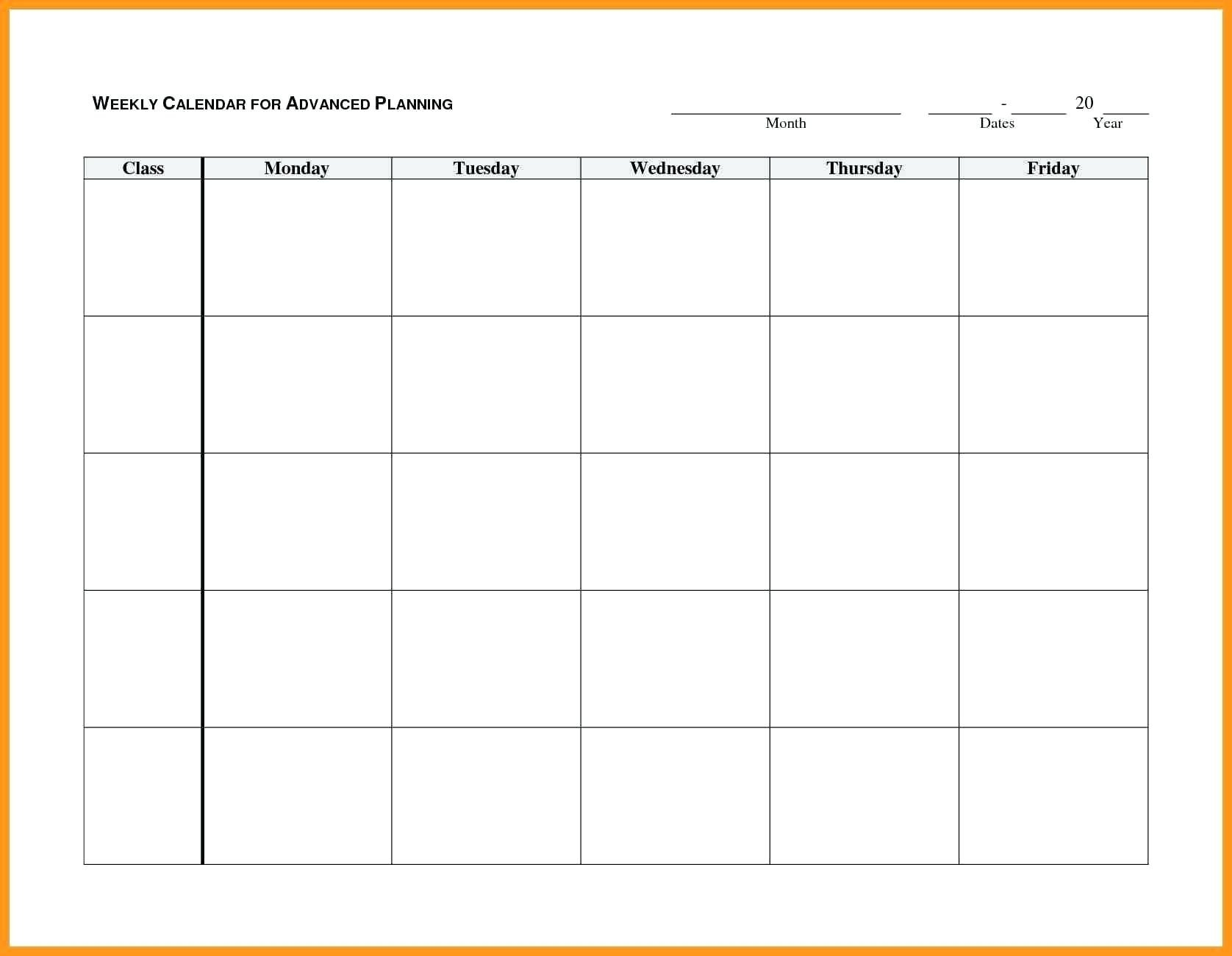 Monday Through Friday Planner Template – Calendar Monday To Friday Calender Template