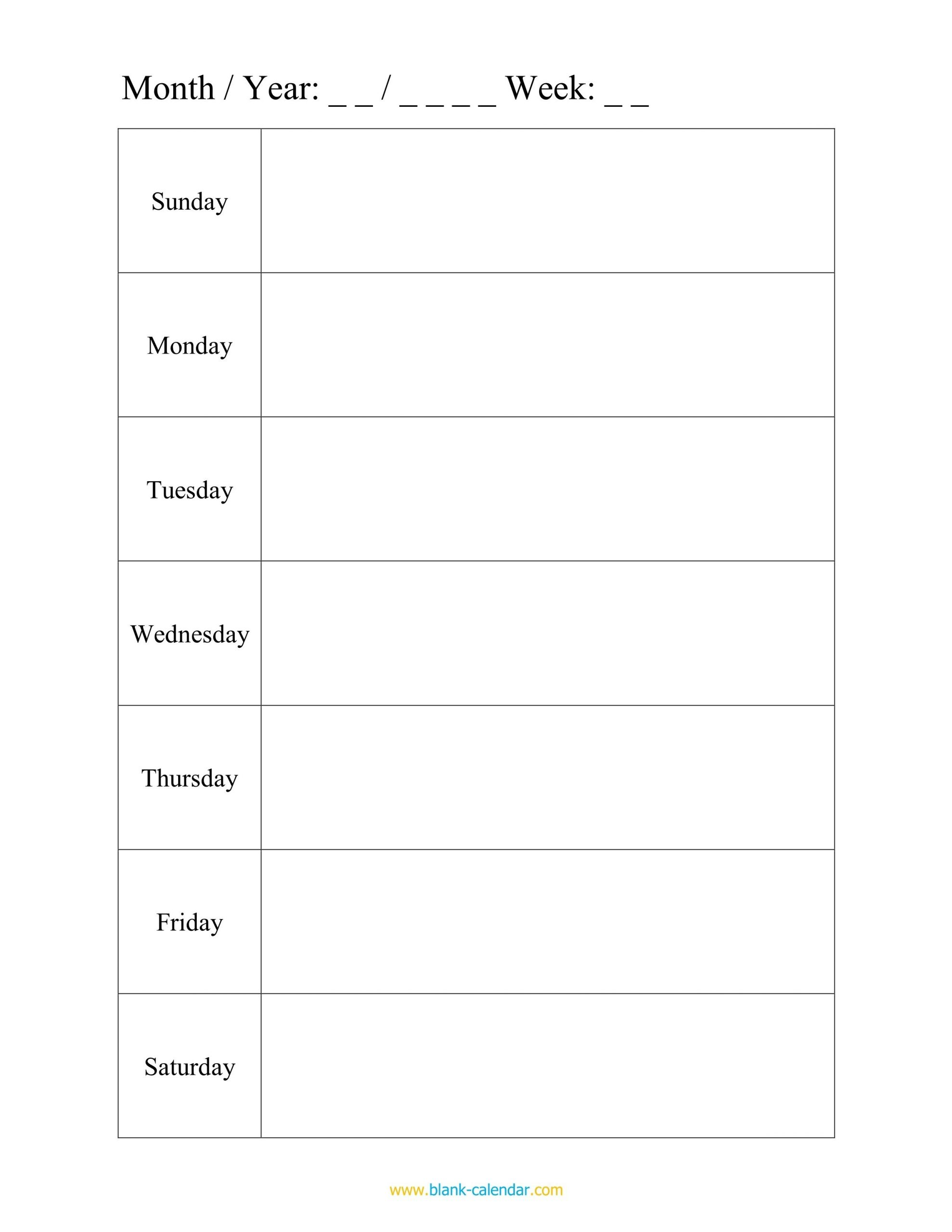 Monday Through Friday Planning Template | Calendar Monday Through Friday Planner Template