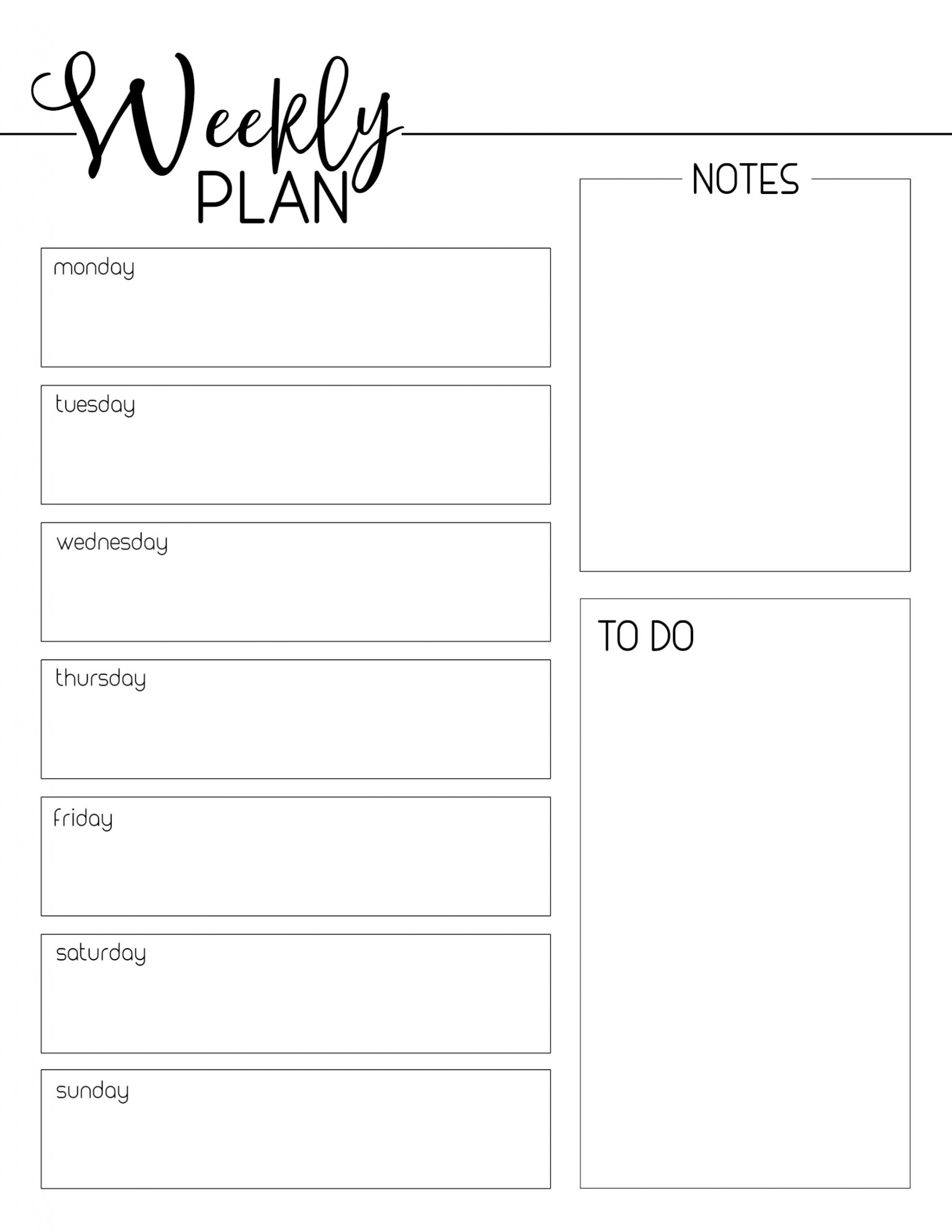 Monday Through Friday Planning Template | Example Calendar Monday Through Friday Planner Template