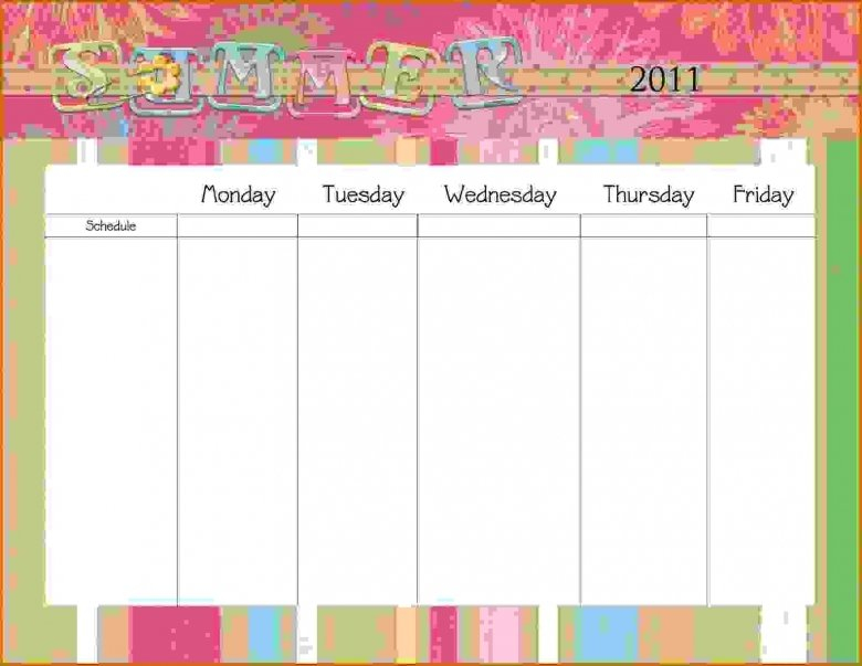 Monday Through Friday Printable Calendar : Free Calendar Monday Friday Schedule Printable