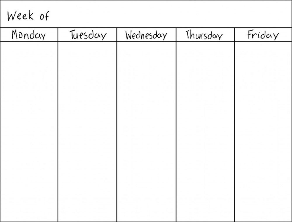 Monday Thru Friday Printable Calendar | Blank Weekly Lined Monday Through Friday