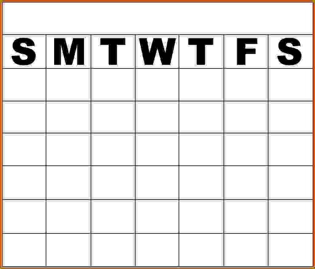 Monday To Friday Blank Calendar Template – Template Monday Thru Friday Calender