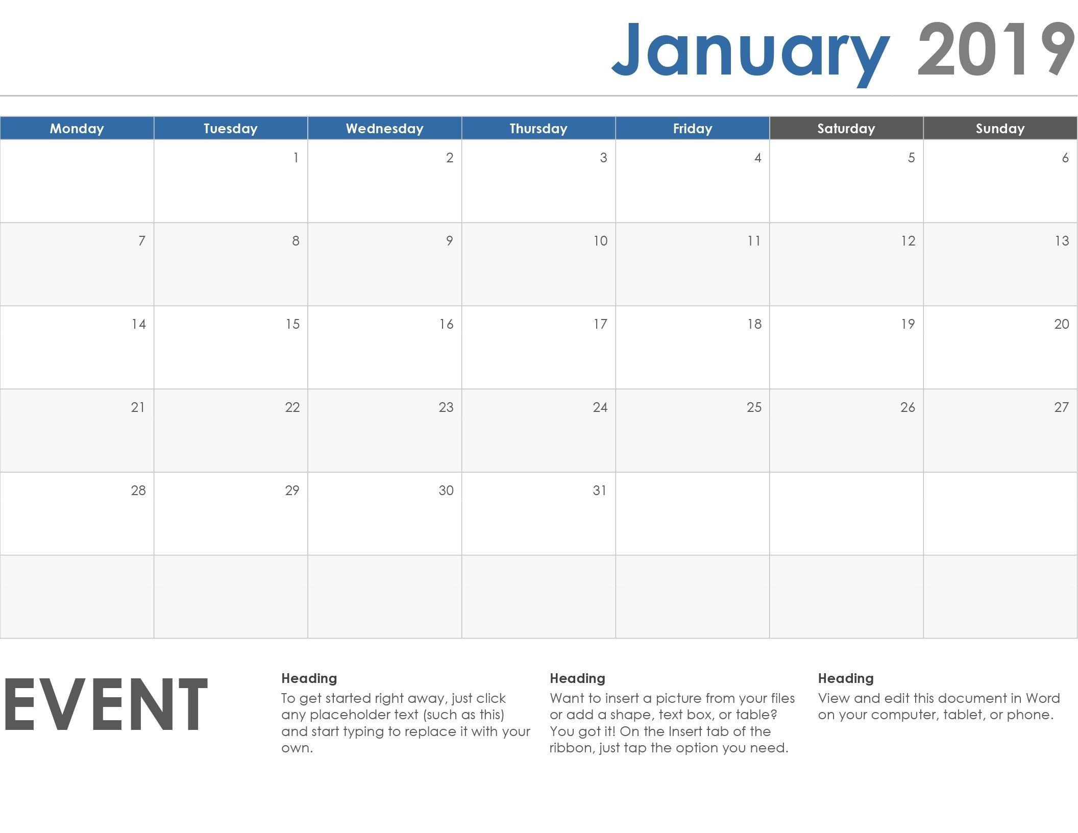 Monday To Friday Calendar Template   Calendar Template Monday Friday Printable Template