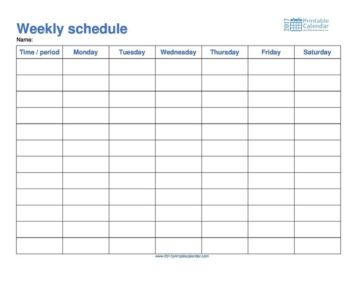 Monday To Friday Schedule Template Calendar Printable Monday Friday Schedule Printable