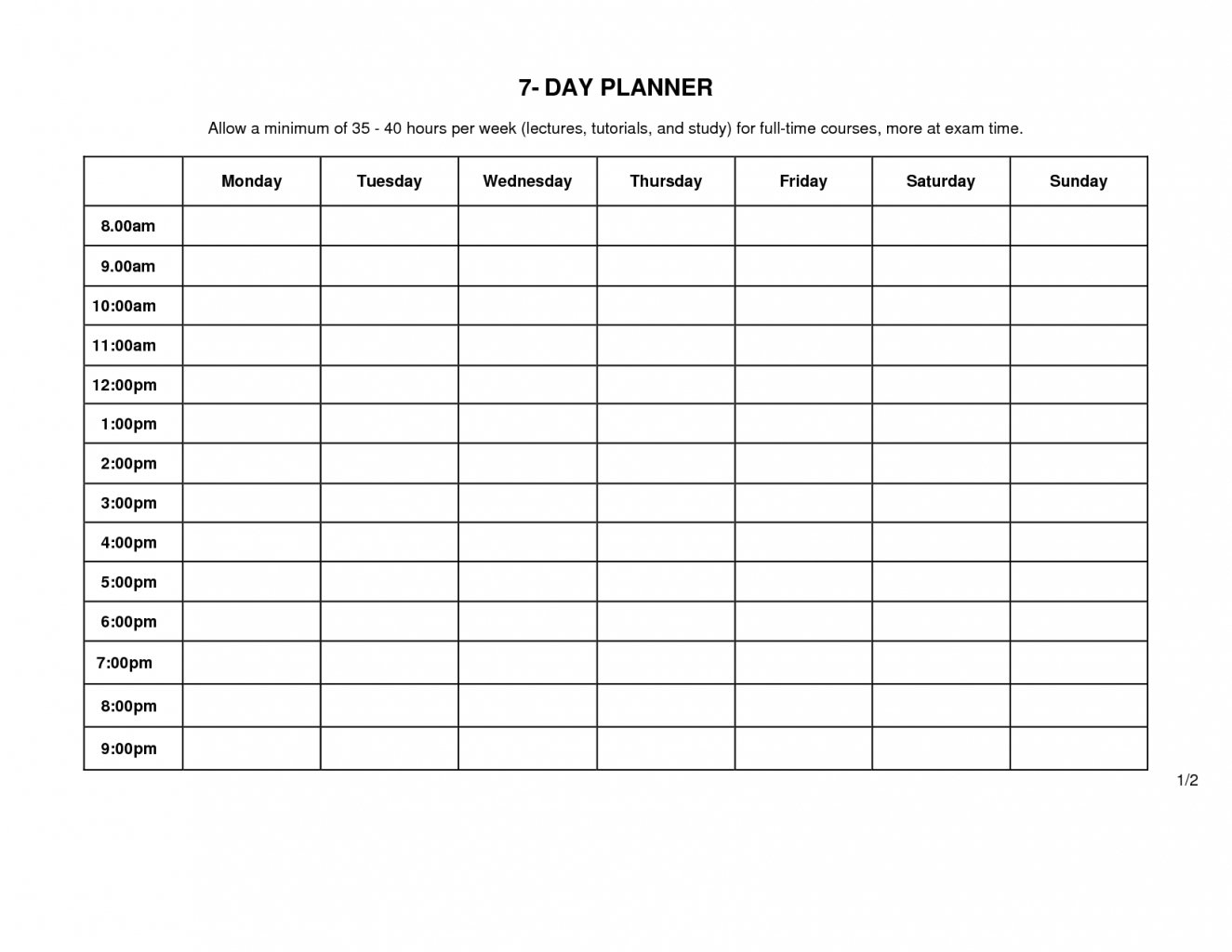 Monday To Friday Schedule Template | Example Calendar Monday Friday Schedule Printable