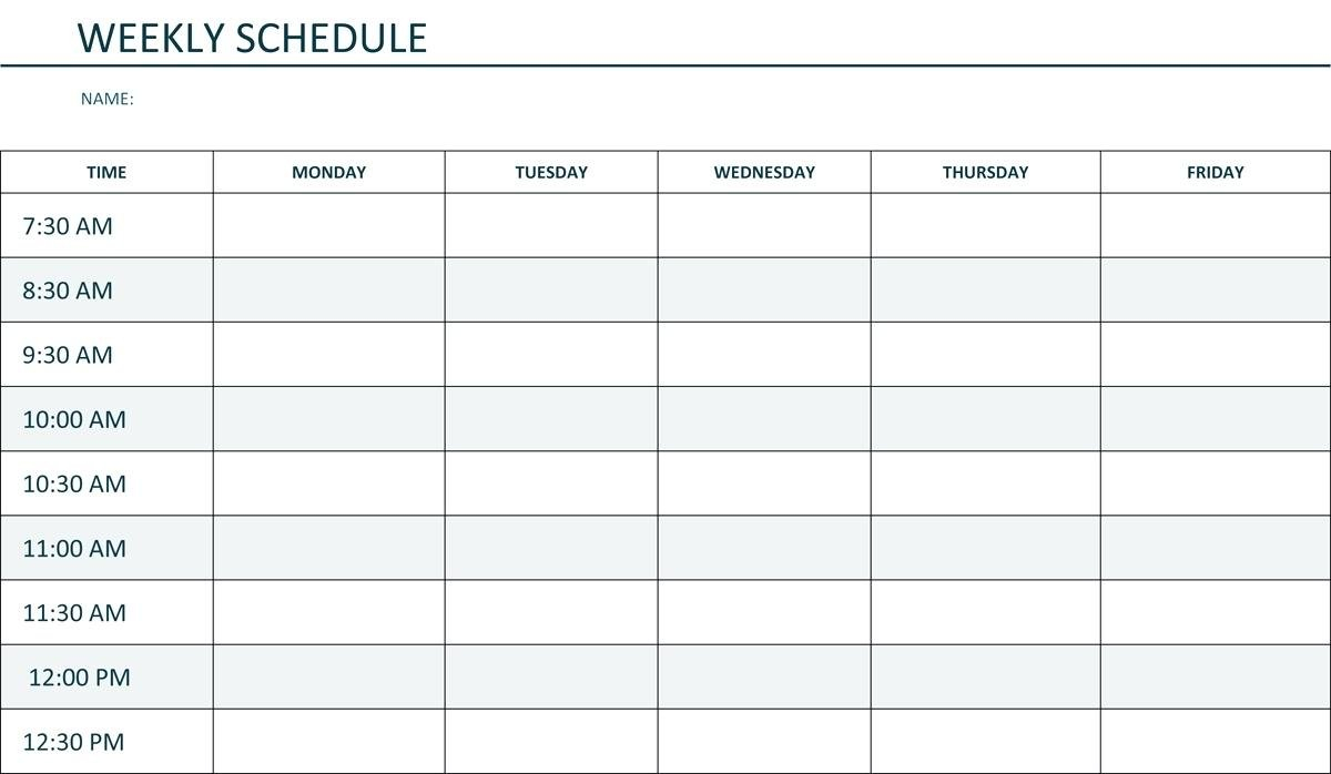 Monday To Friday Schedule Template   Example Calendar Printable Schedule Mon To Friday