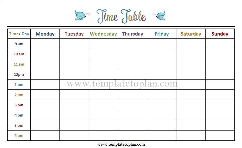 Monday To Friday Tempate Printable : Free Calendar Template Monday Friday Schedule Printable