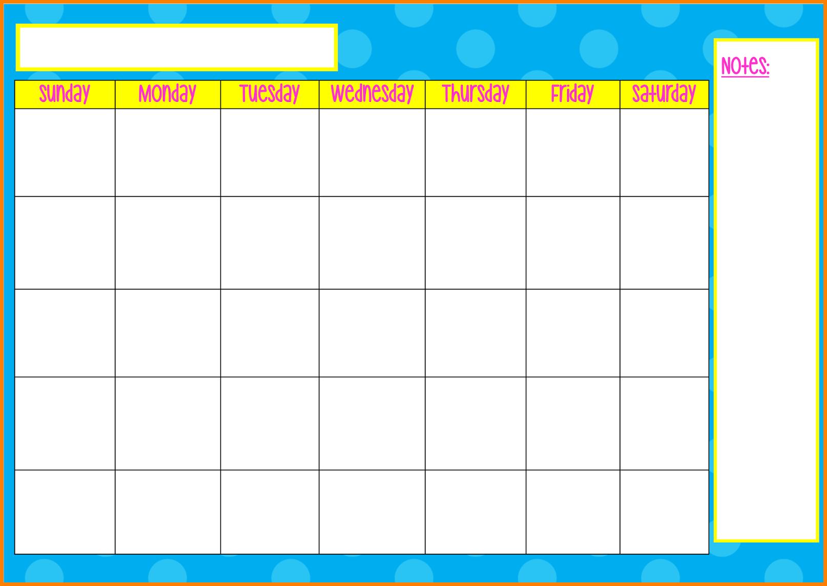 Monday To Friday Tempate Printable : Free Calendar Template Monday To Friday Calender Template