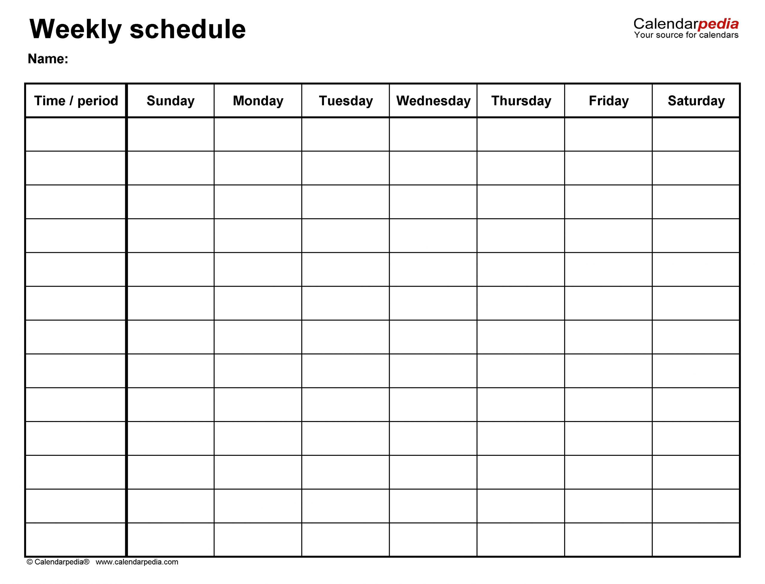 Monday To Friday Timetable Template   Calendar Template Monday Friday Printable Template