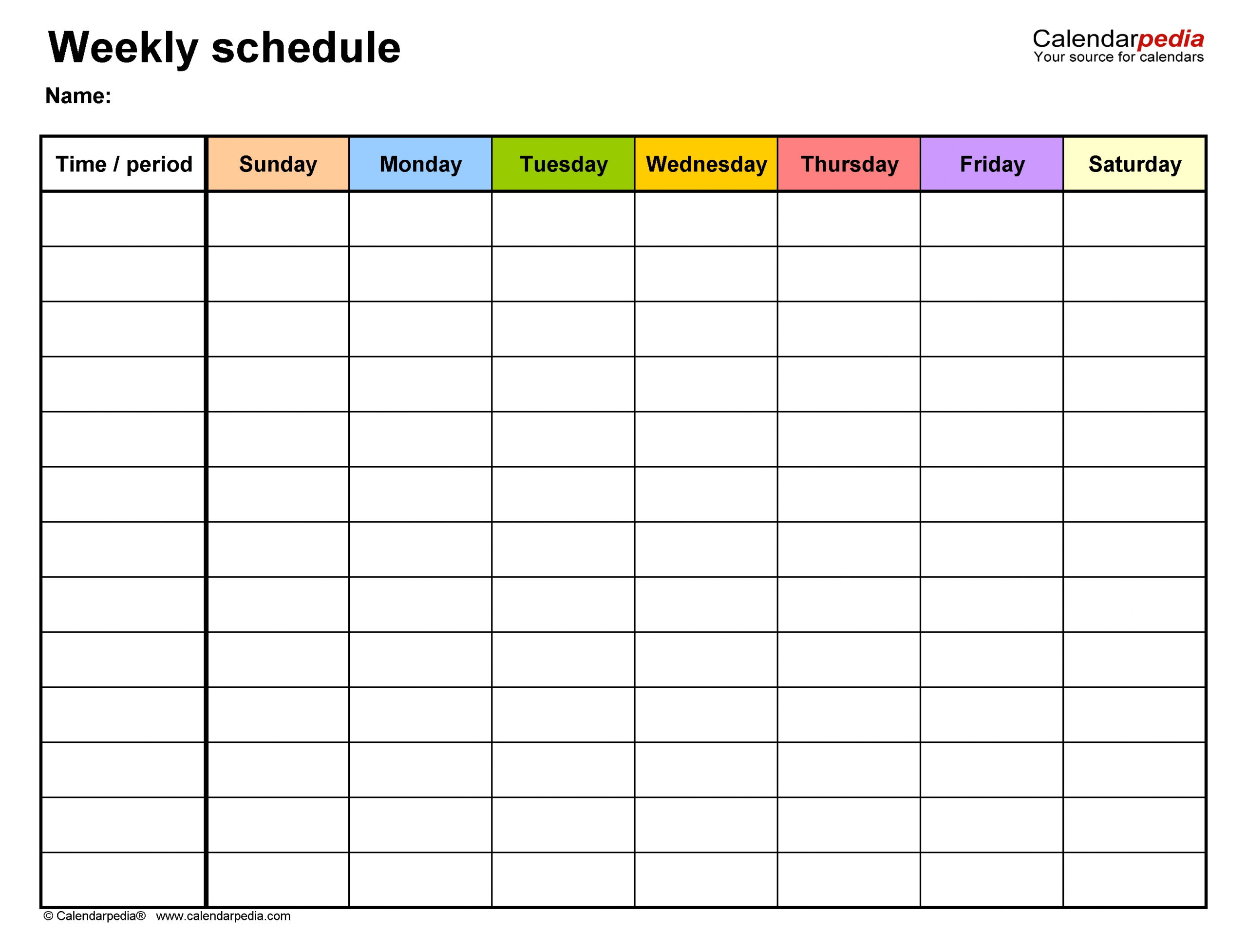 Monday To Friday Timetable Template   Calendar Template Sample Calendar Monday To Friday