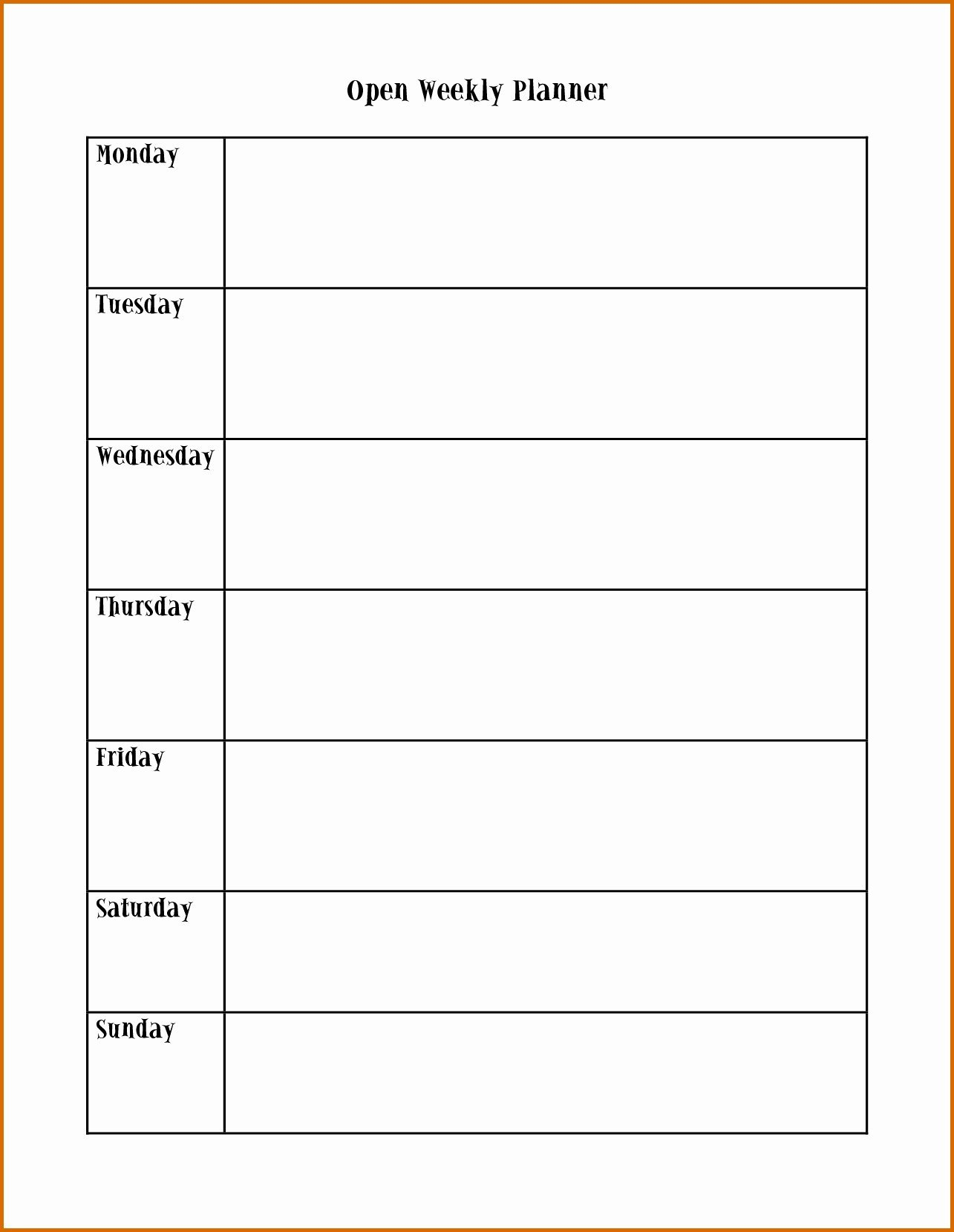 Monday To Friday Word Template | Example Calendar Printable Monday Through Friday Calendar Printable