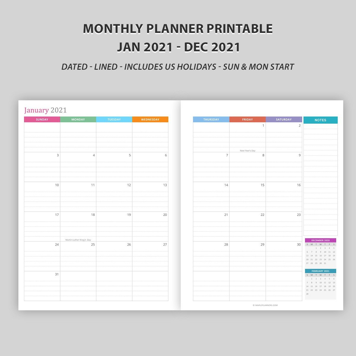 Monthly Calendar 2021 – Vertical Layout – Download Free Free Printable Lined Monthly Calendar
