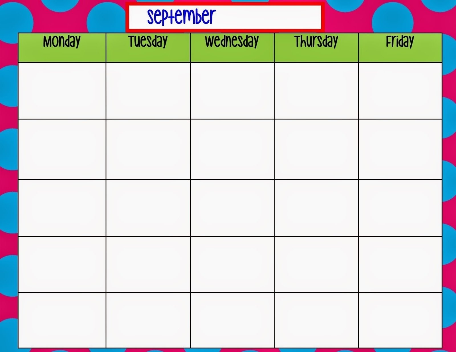 Monthly Calendar Monday To Friday • Printable Blank Sample Calendar Monday To Friday
