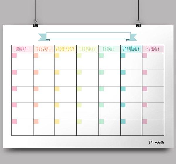 Monthly Calendar No Dates – Printable Week Calendar 4 Week Calendar Template With Enterable Date