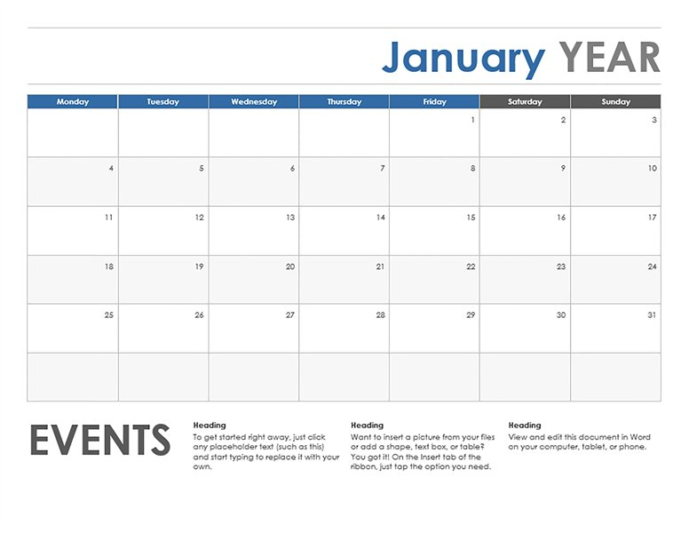 Monthly Calendar Starting With Monday – Printable Week Monday Thru Sunday Menu Template