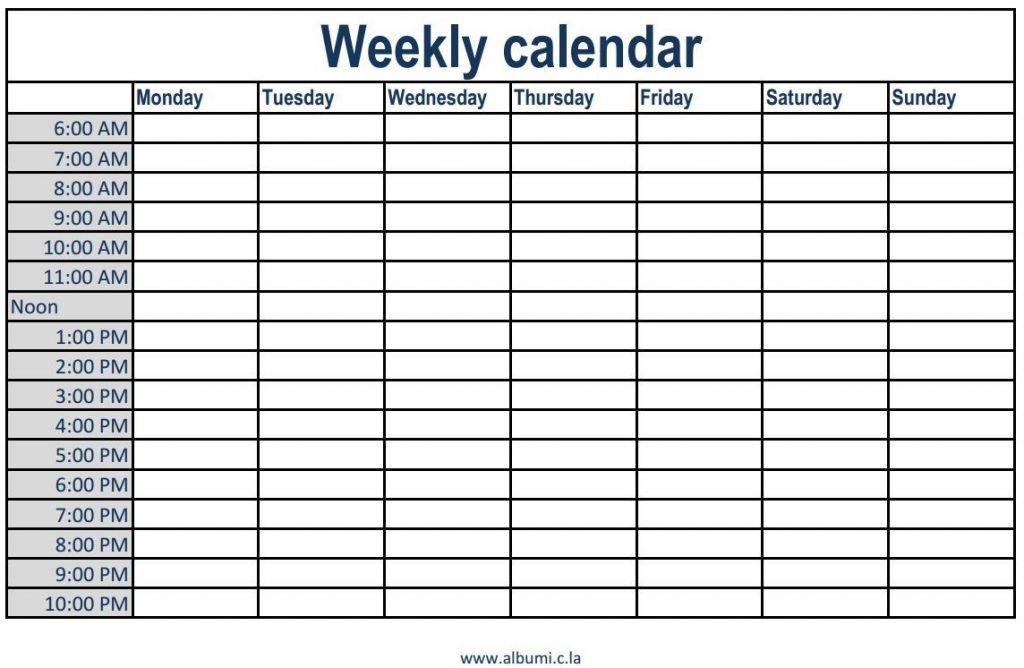 Monthly Calendar With Time Slots Template 8 Week Calendar Blank