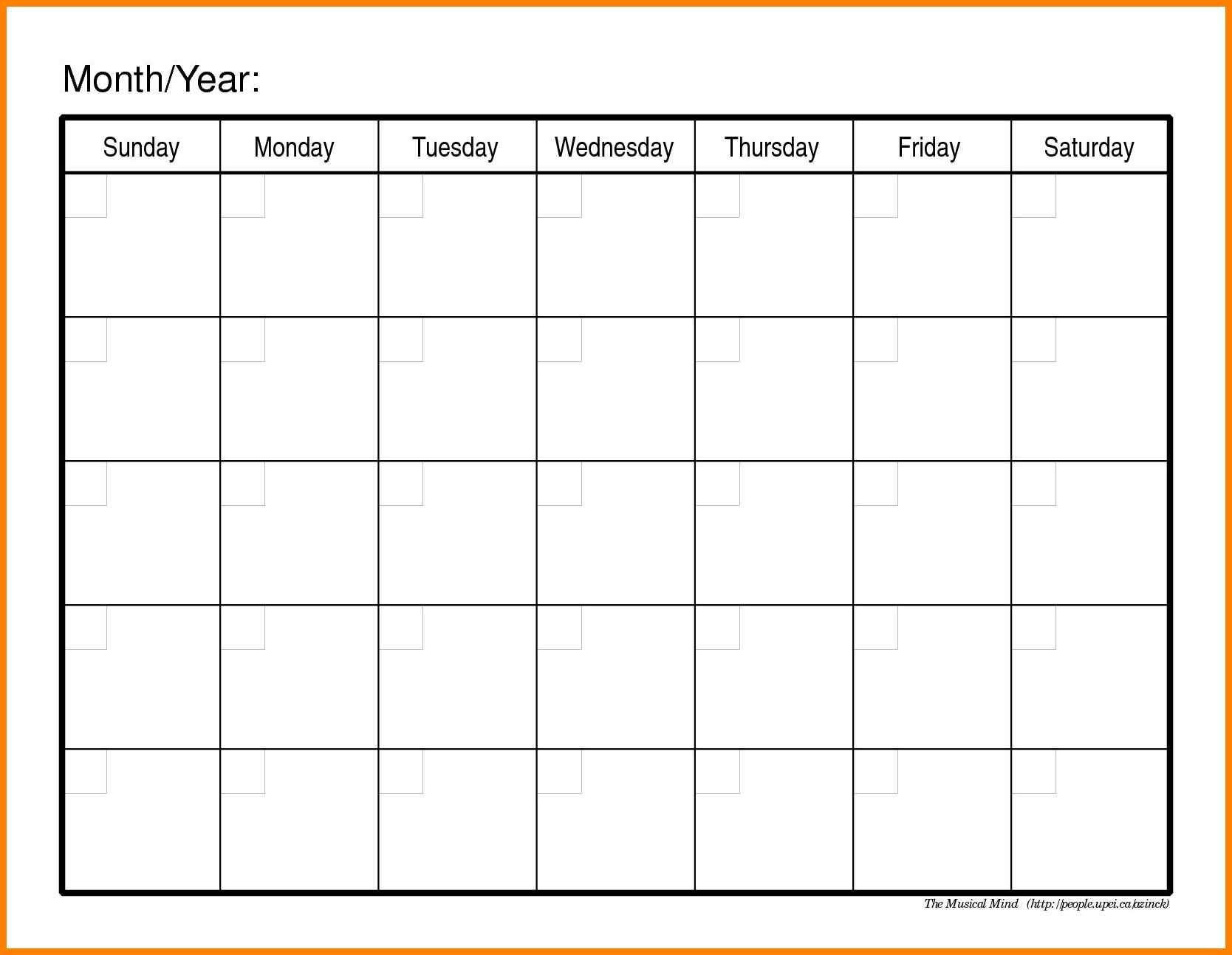Monthly Calendars To Print Out And Fill : Free Calendar Online Calendar To Fill In