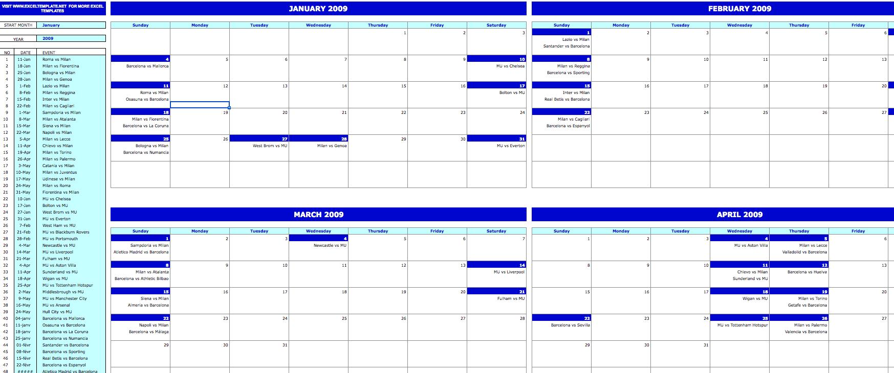 Monthly Event Calendar » Exceltemplate Online Calander I Can Edit