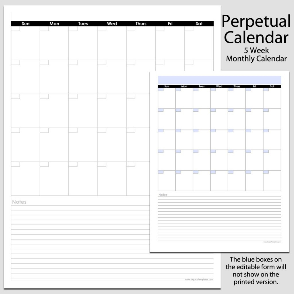 Monthly Perpetual Calendar With Notes In Portrait – 8 1/2 5 1/2 By 8 1/2 Weekly Calendar Printable