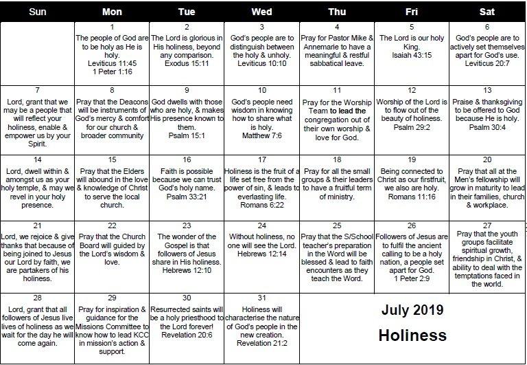 Monthly Prayer Calendar – Kommetjie Christian Church Daily Scripure Prayer Calendar