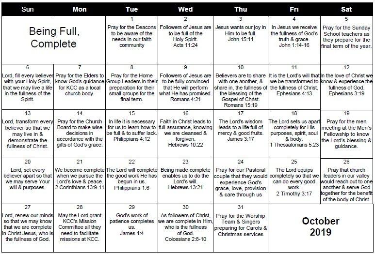 Monthly Prayer Calendar - Kommetjie Christian Church Daily Scripure Prayer Calendar