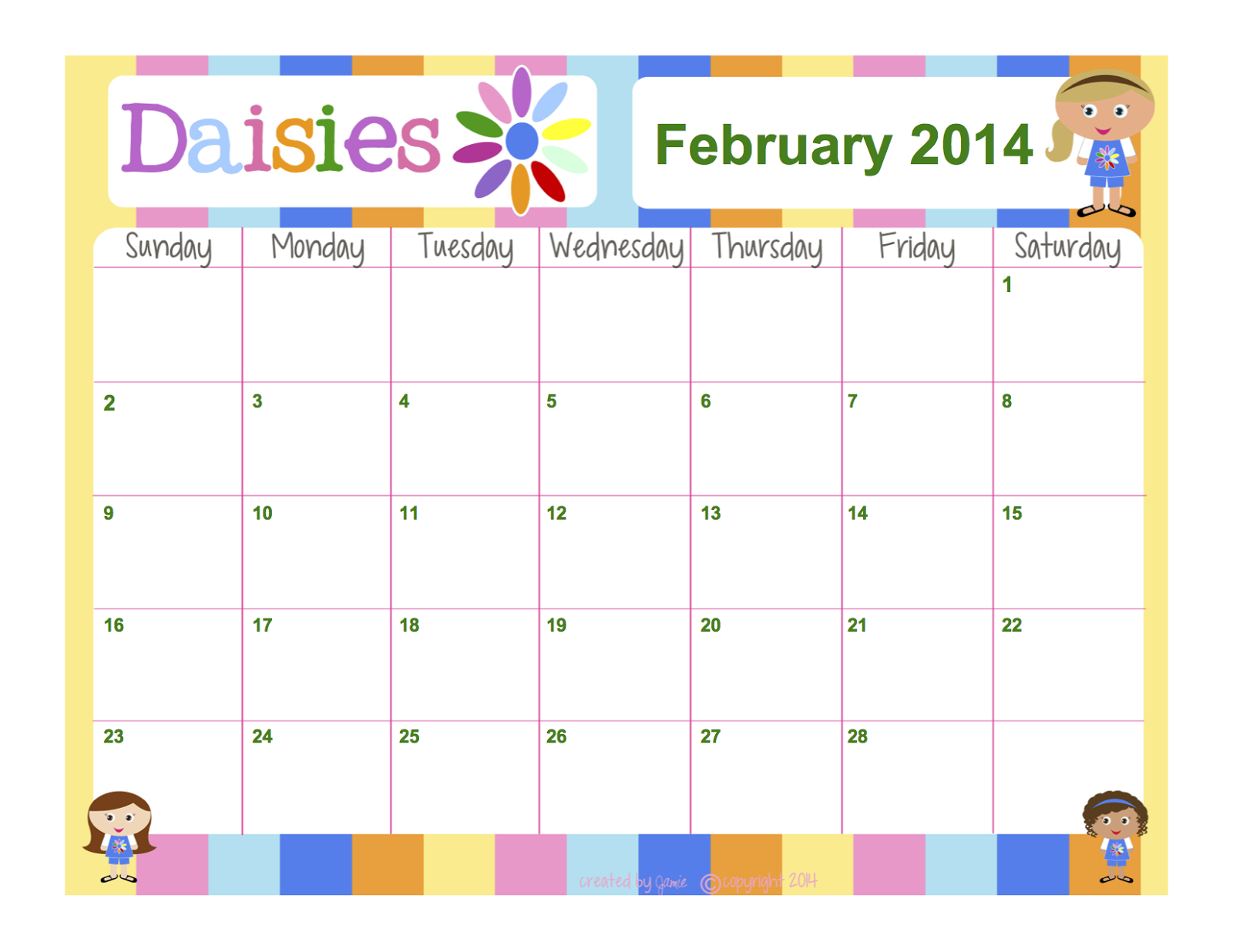 My Fashionable Designs: Girl Scouts – Daisies Free Blank Calendar To Fill In Activities