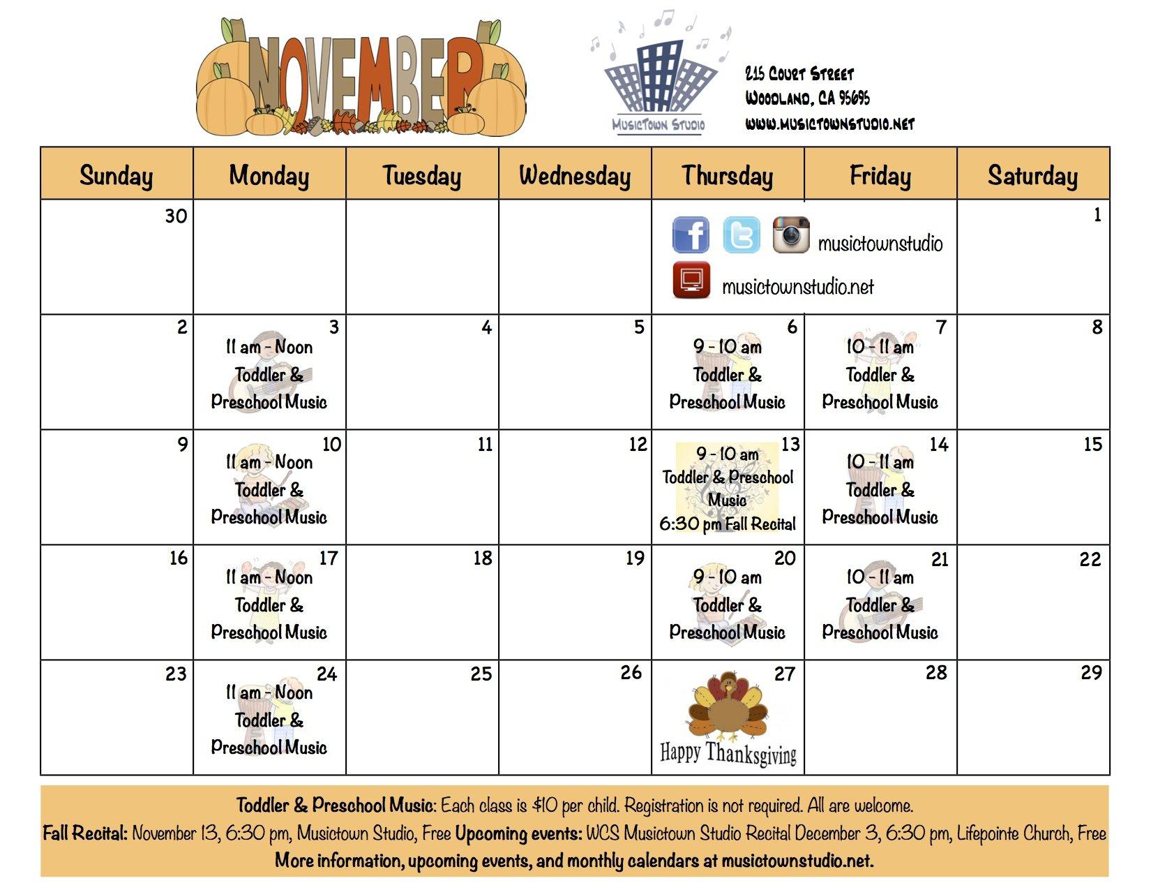 November News   Musictown Studio   Musictown Studio June On Call Calendar