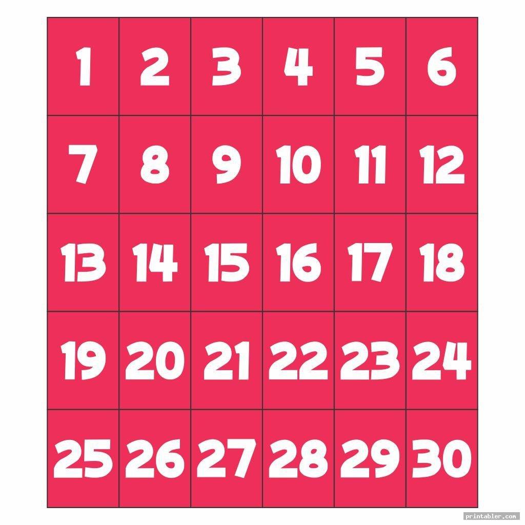 Number Flashcards 1 30 Printable – Gridgit Free Printable Numbers Flashcards 1 To 31