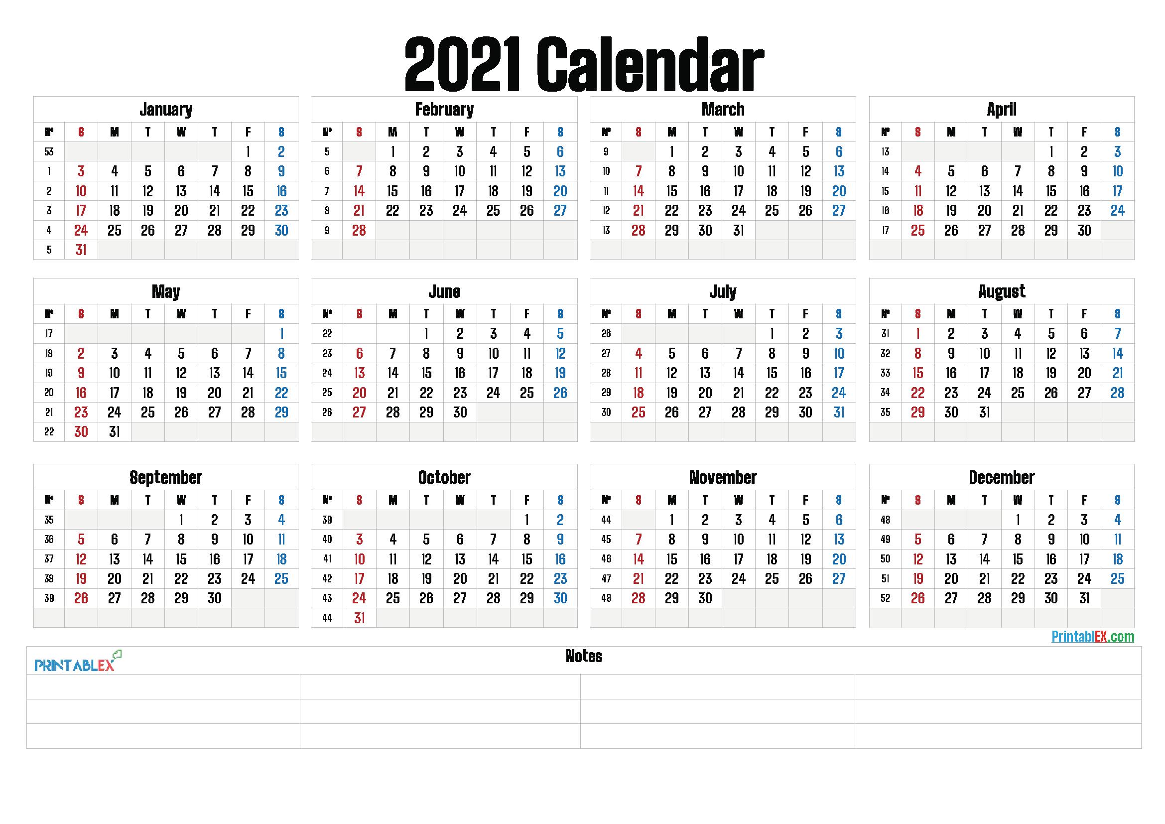 Numbered Week Calendar 2021 | Calendar 2021 Weekly Numbered 52 Week Calendar Printable