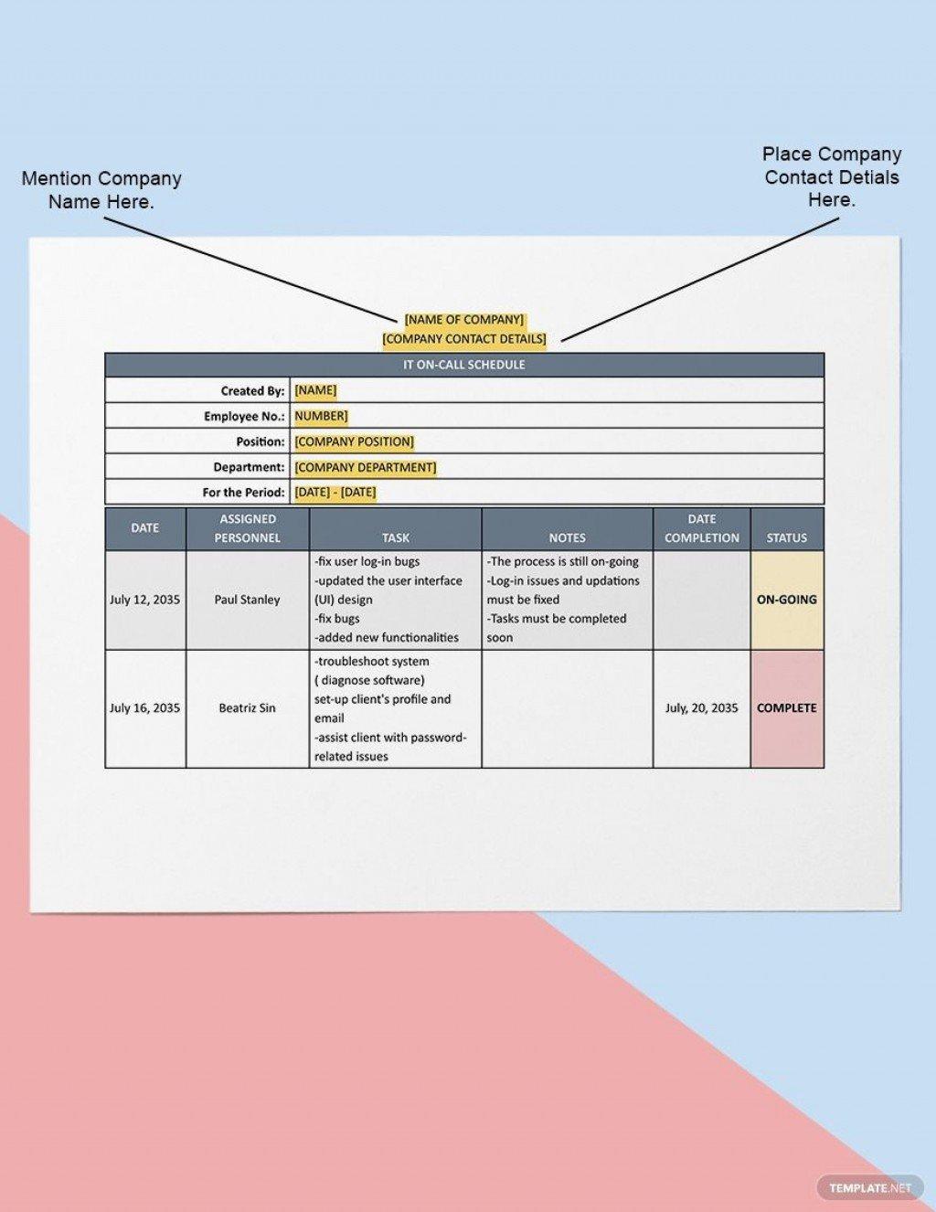 On Call Schedule Template ~ Addictionary On Call Calendar Template