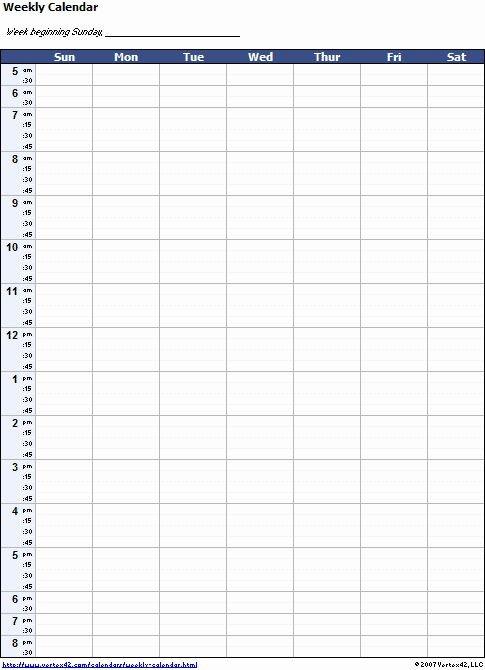 One Week Calendar With Hours In 2020   Weekly Calendar A One Week Calander
