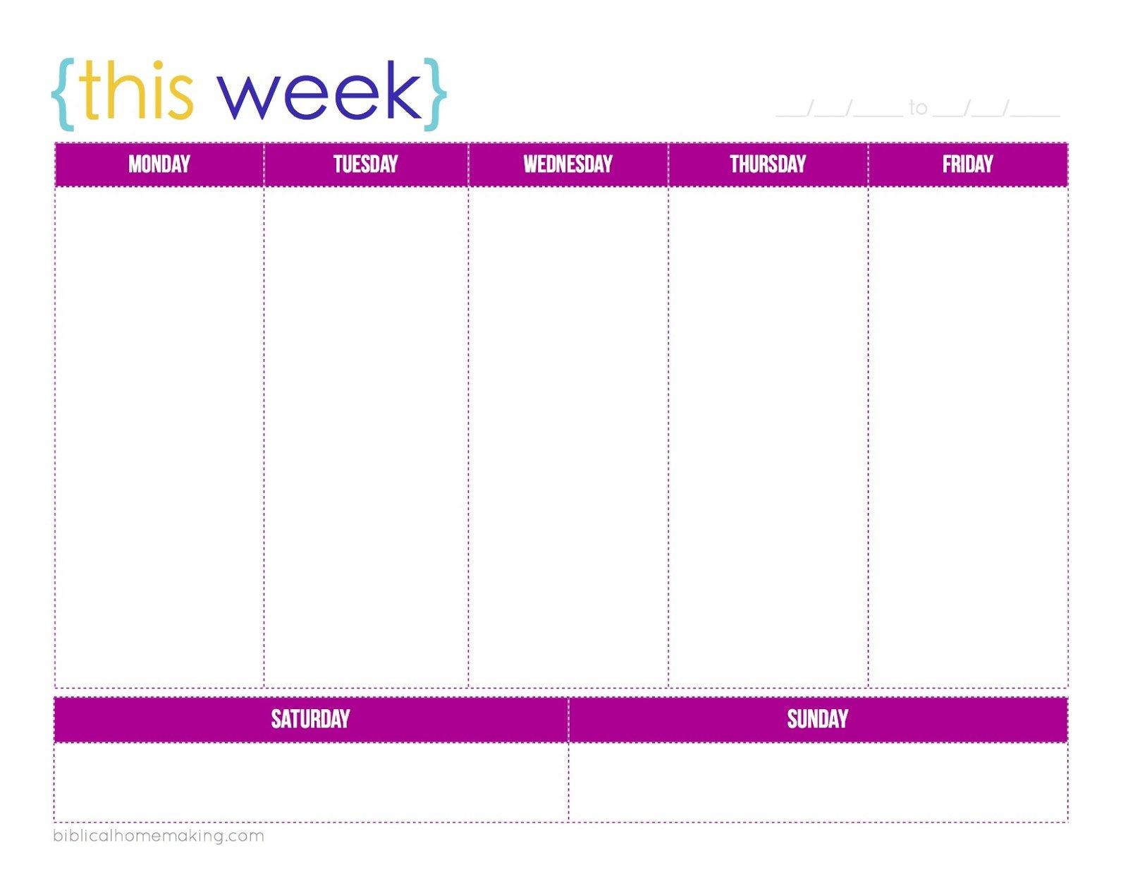 One Week Monday Through Friday Calendar Template | Example Monday To Friday Calender Template